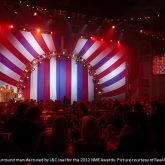 Bespoke stage surround manufactured by J&C Joel for the 2012 NME Awards. Picture courtesy of Reality Ltd.