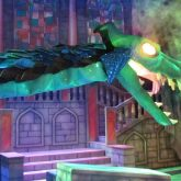 The prop dragon adorned with blue Glitter Cloth (GLI041) on stage at the Theatre Royal in Norwich.