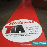 J&C Joel supported the Technical Theatre Awards by supplying 30 metres of red printed Joelmat (JMP001) flooring, which was digitally printed with the TTA logo and the event sponsors logos.