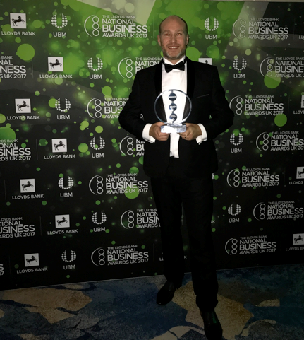 James Wheelwright with the Exporter of the Year award
